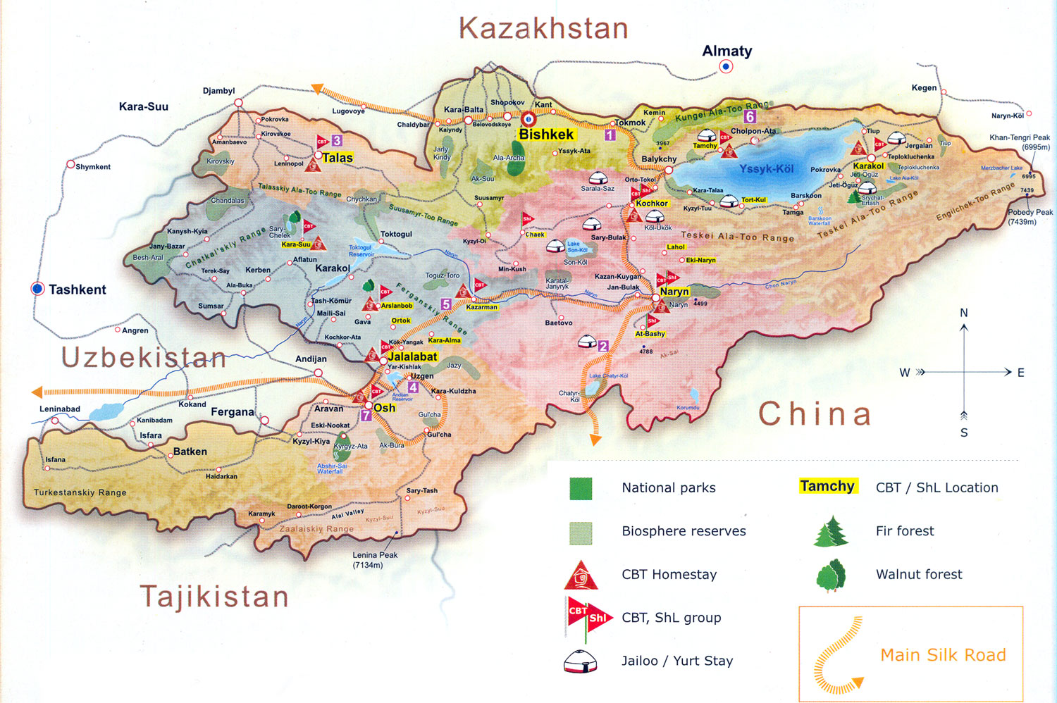 Map of Community Based Tourism in Kyrgyzstan