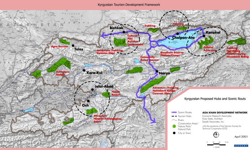 Map of Kyrgyzstan. Kyrgyzstan proposed hubs & scenic routs. Kyrgyzstan map