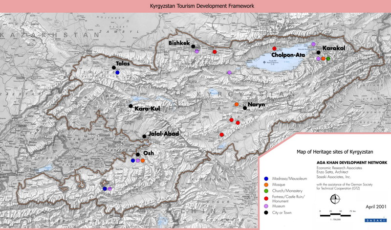 Map of Kyrgyzstan. Map of heritage sites of Kyrgyzstan. Kyrgyzstan map